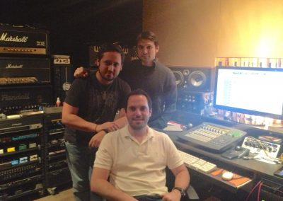 Rapirela with the multi Latin Grammy Award winners Luigi and Santiago Castillo in a recording session.