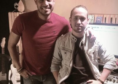 Rapirela in the studio with singer Ronald Borjas recording the Latin Grammy Nominee Song Te Doy Mi Voz